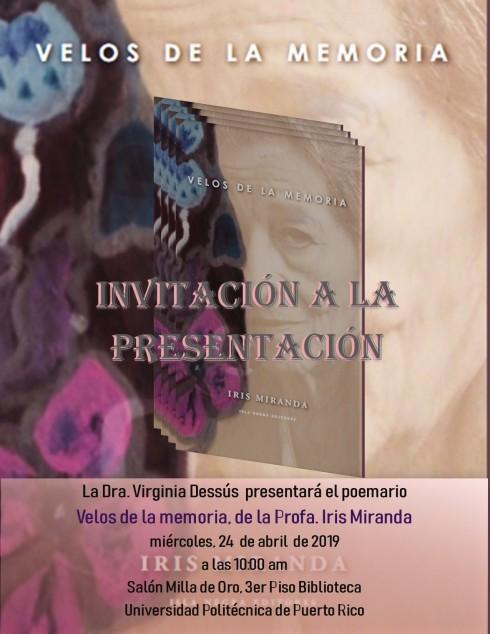 Invitación Presentación libro Profa. Iris Miranda
